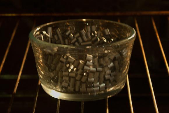 Perleskåle - Sæt ovnen på 200 grader og bag perlerne i ca. 8 minutter.