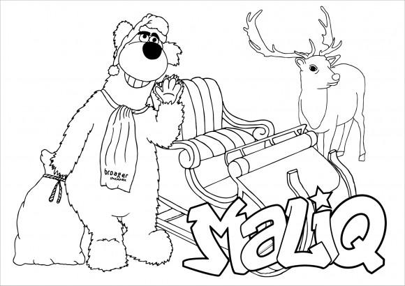 Mal selv tegning med rensdyr, kane og Maliq
