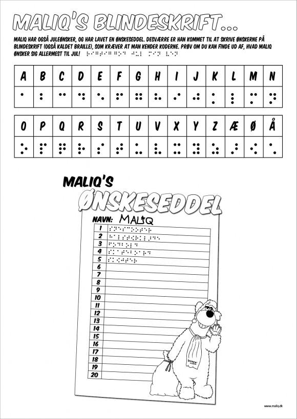 blindeskrift opgave - hvad ønsker maliq sig